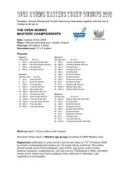 THE OPEN NORDIC MASTERS CHAMPIONSHIPS
