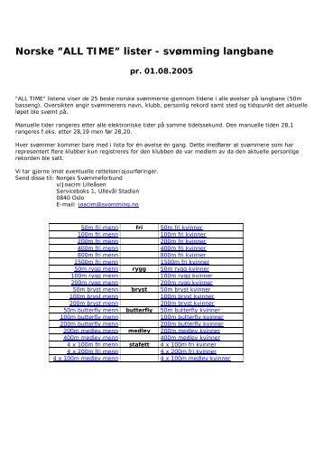 Norske All-Time lister langbane - Norges Svømmeforbund