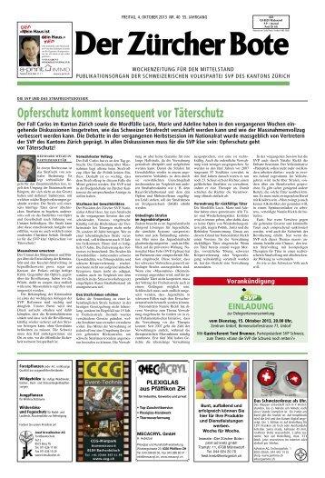 Opferschutz kommt konsequent vor Täterschutz - SVP Kanton Zürich