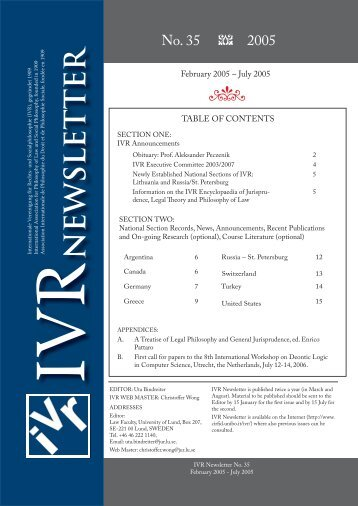 IVR Newsletter No. 35 - Ivr2003.net