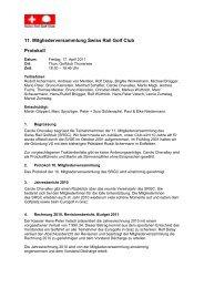 11. Mitgliederversammlung Swiss Rail Golf Club Protokoll