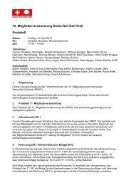 12. Mitgliederversammlung Swiss Rail Golf Club Protokoll