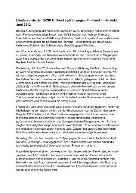 Bericht SVSE Unihockey Nati Finnland 2012