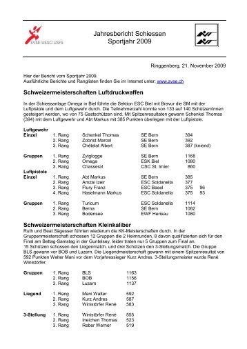 Jahresbericht Schiessen Sportjahr 2009