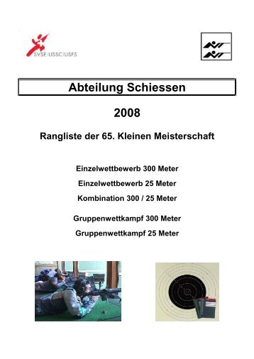 2008 Komplette Rangliste Kleine Meisterschaft SVSE