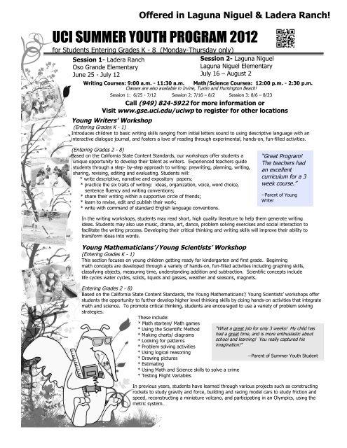 uci summer youth program 2012 - Saddleback Valley Unified
