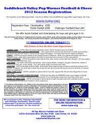 Saddleback Valley Pop Warner Football & Cheer 2012 Season ...