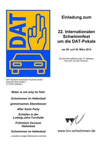 Einladung zum 22. Internationalen Schwimmfest um die DAT-Pokale