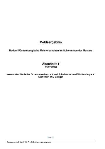 Meldeergebnis - Schwimmverband Württemberg e.V.