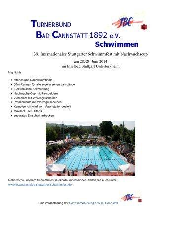Ausschreibung 39. Internationales Stuttgarter Schwimmfest