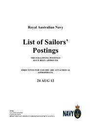 Postings - Royal Australian Navy