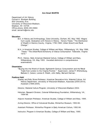 Curriculum Vitae - Department of Art History - University of ...