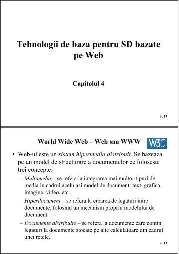 Tehnologii de baza pentru SD bazate pe Web