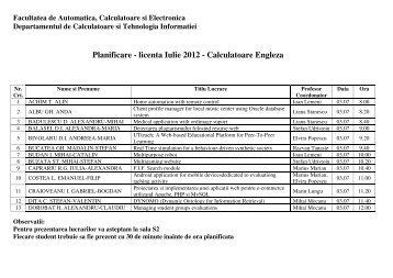 Planificare - licenta Iulie 2012 - Calculatoare Engleza