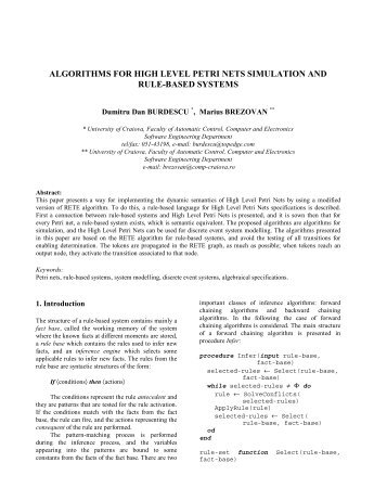 algorithms for high level petri nets simulation and rule-based systems