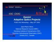 Gemini Adaptive Optics Projects - Canada France Hawaii Telescope