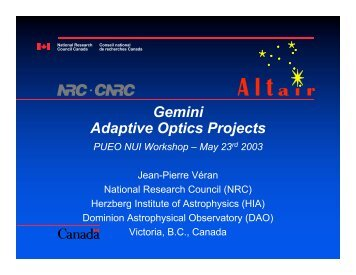 Gemini Adaptive Optics Projects - Canada France Hawaii Telescope