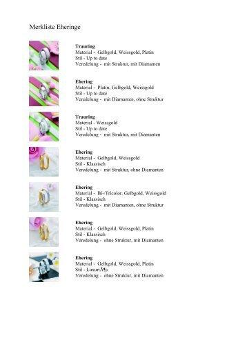 Merkliste Eheringe - KURZ Schmuck und Uhren