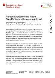 Pressemitteilung zum Download - Westfälisch-Lippische Sparkassen
