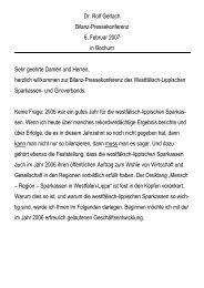 Dr. Rolf Gerlach Bilanz-Pressekonferenz 6. Februar 2007 in Bochum ...