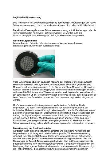 Legionellen-Untersuchung Das Trinkwasser in ... - Stadtwerke Aalen