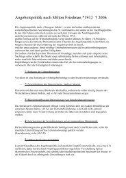 Angebotspolitik nach Milton Friedman *1912 † 2006 - Sw-cremer.de