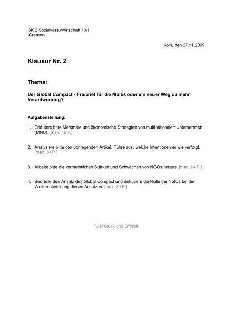 Klausur GK2 13/1/2 - Sw-cremer.de