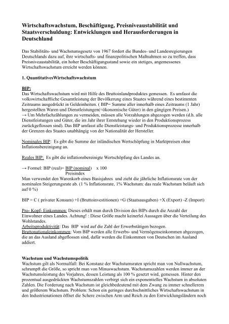 Wirtschaftswachstum, Beschäftigung ... - Sw-cremer.de