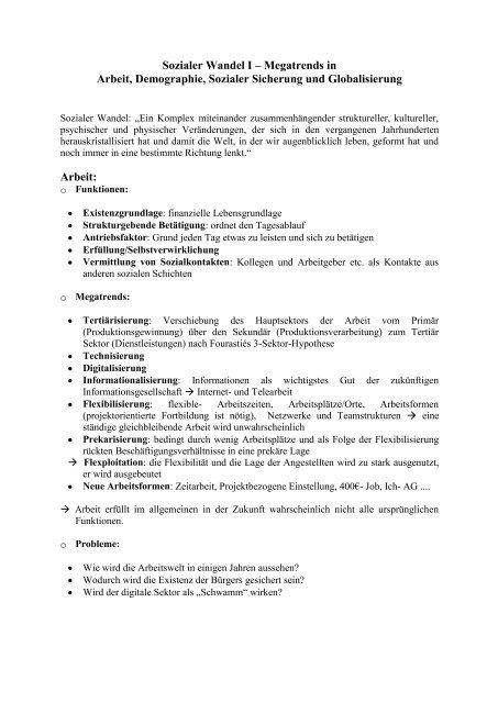 Sozialer Wandel I – Megatrends in Arbeit ... - Sw-cremer.de