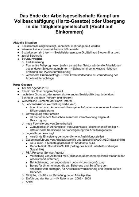 Das Ende der Arbeitsgesellschaft: Kampf um ... - Sw-cremer.de