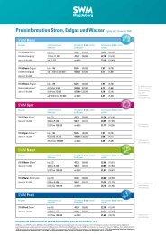 Preisinformation Strom, Erdgas und Wasser (gültig ab 1. Dezember ...