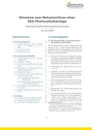 Hinweise zum Netzanschluss einer EEG-Photovoltaikanlage