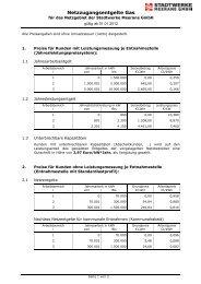 Preisblatt für Netznutzungsentgelte Erdgas (gültig ab 01.01.2012)
