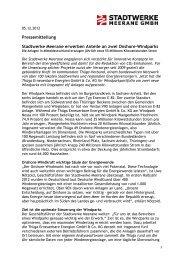 Stadtwerke Meerane erwerben Anteile an zwei Onshore-Windparks