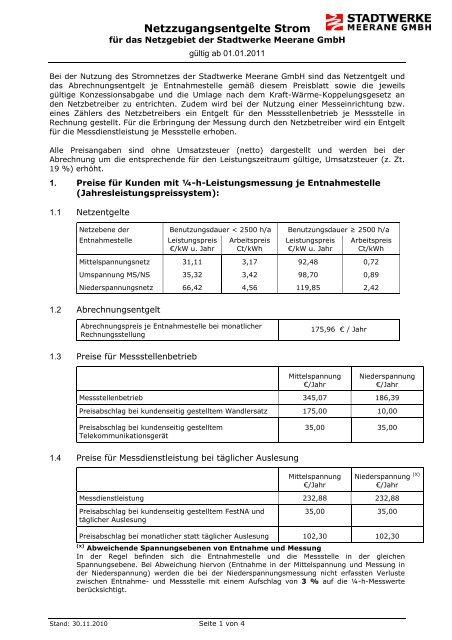 Preisblatt für Netznutzungsentgelte Strom (gültig ab 01.01.2011 ...
