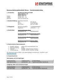 Kontaktdatenblatt Netz Strom - Stadtwerke Meerane GmbH