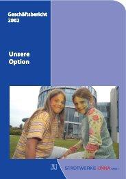 Geschäftsbericht 2002 - Stadtwerke Unna