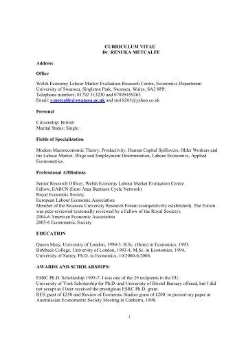 curriculum vitae dr renuka metcalfe address office