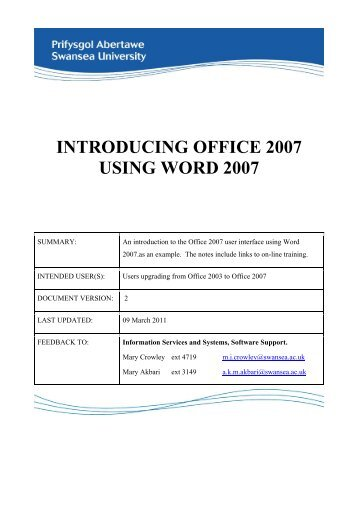 Introduction to MS Office 2007