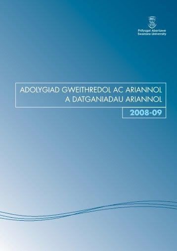 adolygiad gweithredol ac ariannol a datganiadau ariannol 2008-09
