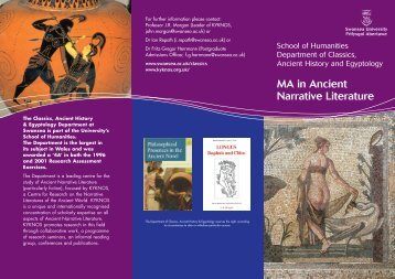 MA in Ancient Narrative Literature - Swansea University