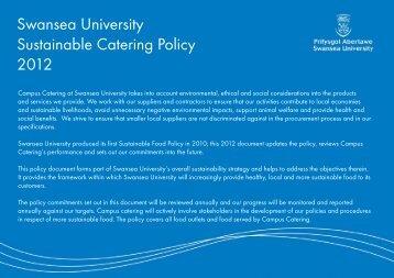 Swansea University Sustainable Catering Policy 2012