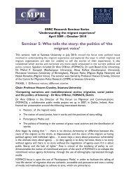 ESRC Seminar Series - Briefing Paper 5 - Swansea University