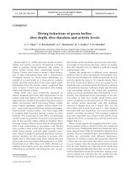 Diving behaviour of green turtles: dive depth, dive duration and ...