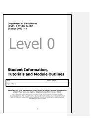 Level 0 Study Guide 2012-13 Biosciencex - Swansea University