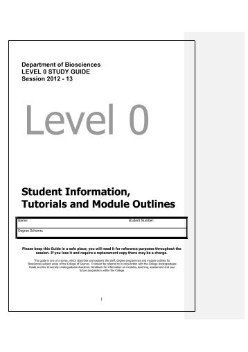 Level 0 Study Guide 2012-13 Biosciencex - Swansea University