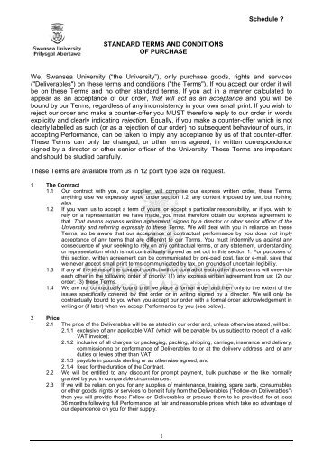 Term and Conditions - Swansea University