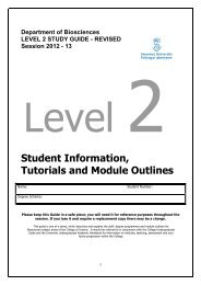 Level 2 Study Guide 2012-13 Biosciencesx - Swansea University