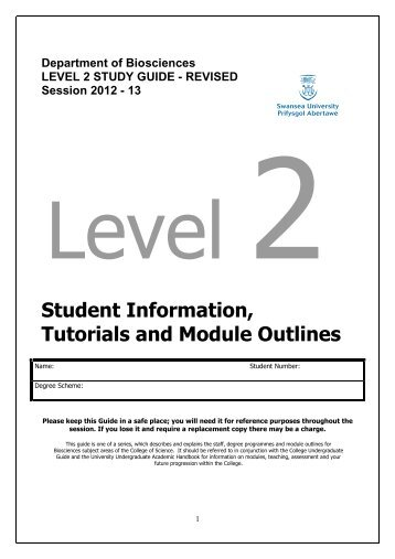 Level 2 Study Guide 2012-13 Biosciencesx - Swansea University