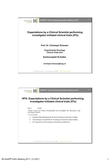 Expectations by a Clinical Scientist performing investigator ... - SwAPP